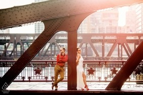Illinois Engagement Photography session with Chicago Couple on a bridge