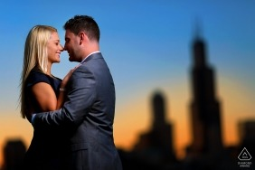 Engagement session at Adler Planetarium, Chicago Illinois