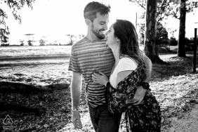 Carcaraña, Argentina Pre Wedding Portraits - side by side couple in black and white