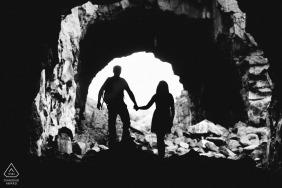 Yakima, WA Portraits | Creative Engagement Session in tunnel