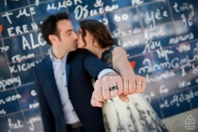 Paris France Engagement Photography Session with Couple and Rings