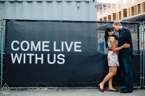 Seattle, WA Pre-Wedding Portraits | Creative engagement in downtown building site