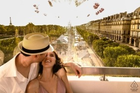 Paris engagement portrait session - giant wheel laughs from this couple