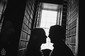 Indoor Madrid Engagement Photography Session in Black and White