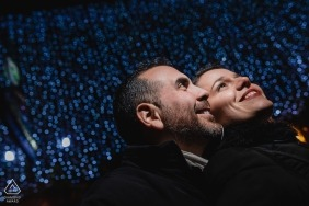 Dublin Engagement Photography - Couple lit with blue background
