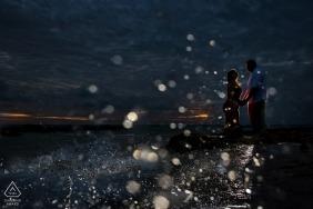 Florida Key West   Splash Water at Night with Lit Couple