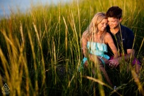 South Dartmouth, Massachusetts | Couple amongst sea grass at the beach in the sun