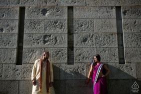 Boston, Massachusetts engagement portrait   Couple against wall