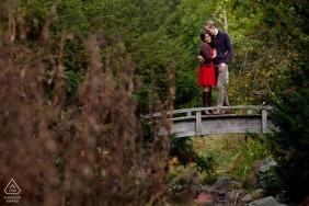 Boston, Massachusetts engagement - Couple on foot bridge