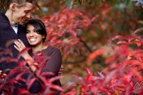 Boston, Massachusetts Engagement Photographer - Couple in red leaves