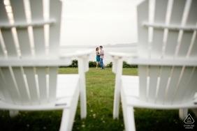 Newport, Rhode Island pre wedding portrait of a Couple between chairs