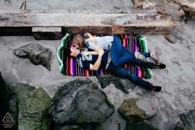 Creative Engagement Photo Session with beach and a blanket | Washington Portraits
