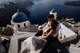 Portraits in Santorini, Greece for Pre Wedding Session overlooking water
