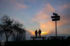 Seattle, WA Creative Engagement Portrait with street signs at sunset