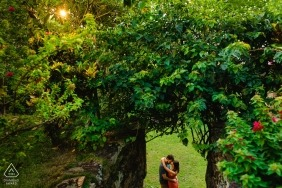 Brazil Ouro Preto pre wedding portrait in a tunnel of trees