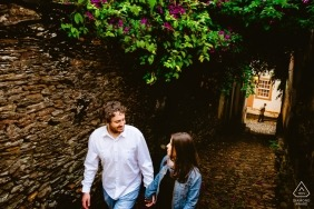 Ouro Preto engaged couple walking for a portrait in Brazil