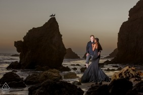 El Matador Beach Malibu | Pre-Wedding Portrait at the Beach at Sunset