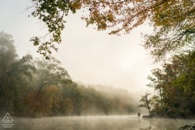 Sweetwater Creek, Atlanta, Georgia Engagement Portrait | Fall morning on the banks of a river.