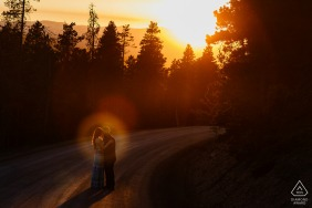 Sunset engagement portrait session at Golden Gate Canyon State Park
