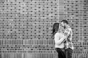 Campus of University of Nevada, Reno engagment portrait at Laughin Bricks