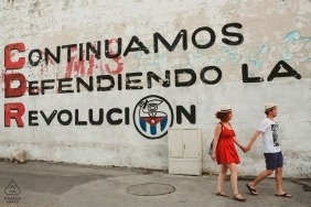 engagement shoot at Cuba-Havana with couple walking the streets