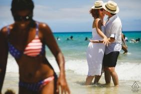 kissing couple engagement shoot at Cuba beach