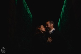 Lowlight engagement portrait of a couple in Dublin