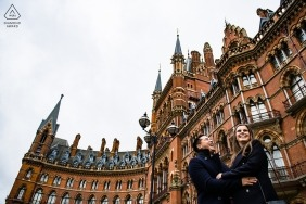 London engagement shoot outside St Pancras station -  Engagement Photographs