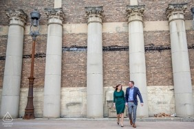 Chicago couple with columns - Illinois Engagement Photos