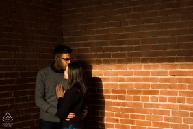 Afternoon Light in the Stairwell -- last shQuebec Engagement Photo with a WPJA documentary wedding photographer