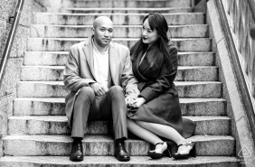 Couple Sitting on the Stairs - London Engagement Session