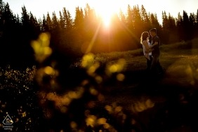 On top of Shrine Pass for the last bits of sunlight during this couple's Vail, CO engagement session.