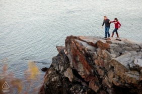 Couple on cliffs - Rhode Island Engagement Photo
