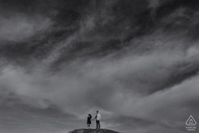 San Francisco twin Peak engagement portrait for a young couple