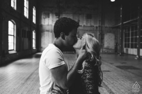 Kiss her like she's mine - Groningen Engagement Photos inside industrial building
