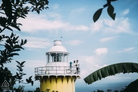 This pre-wedding photo was taken at Da Nang lighthouse