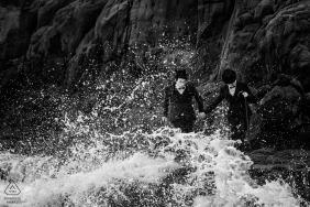 中国福建海浪的婚前订婚肖像