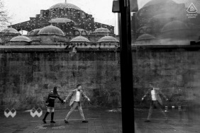 Istanbul engagement photo - shooting outdoors in black and white