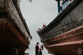 This portrait was taken at Hoi An between two fishing boats at the sea