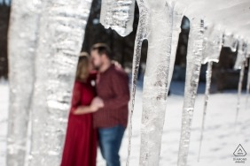 Elora, Ontario engagement shoot | The Icicles of winter can't chill their love session
