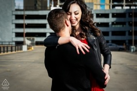Edmonton, AB, Canada engagement photo shoot Together in the city