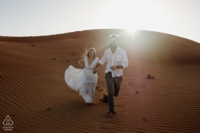 Fossil Rock, Dubai Desert destination engagement shoot | Desert adventure in the sand and sun