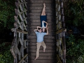 Engagement from another view, overhead drone photography | Key West engagement portrait shoot on the bridge