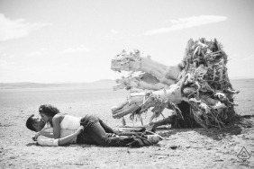 Salt Lake City pre-wedding portraits | Couple kissing on sand at the beach with old tree stump in background