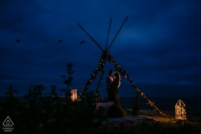 San Diego Engagement portrait session at dusk - teepee, lanterns and early evening for this couple shoot