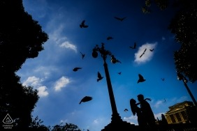 São Paulo Engagement Photographer - destination session with birds flying
