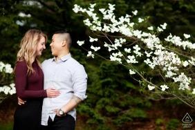 Boston, Massachusetts Pareja con un árbol de flores en el parque - sesión de retratos de compromiso