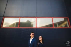 Baltimore engagement photo shoot session - Red color is a Key
