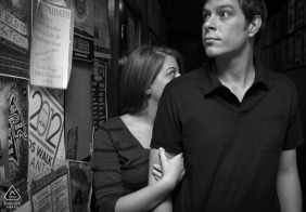 Little Five Points, Atlanta | Engagement Session at Pool Hall in black-and-white