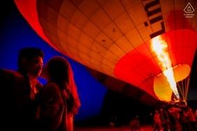turkey - cappadocia engagement shooting with hot air balloons at dusk